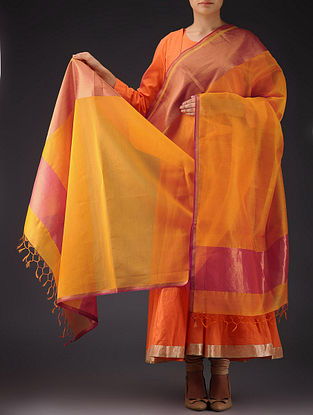 Light Orange - Pink Maheshwari Silk-Cotton Dupatta