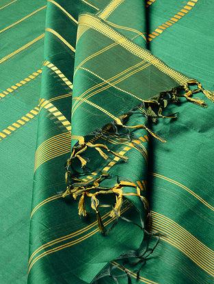 Green - Yellow Maheshwari Silk-Cotton Dupatta
