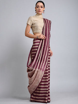 Wine-Beige Handwoven Block Printed Tussar Silk Saree