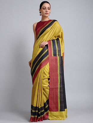 Yellow-Red Handwoven Block Printed Tussar Silk Saree