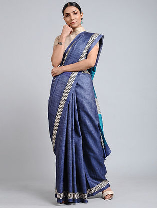 Blue Handwoven Block Printed Tussar Silk Saree