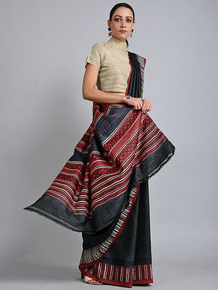 Black-Rust Handwoven Block Printed Tussar Silk Saree