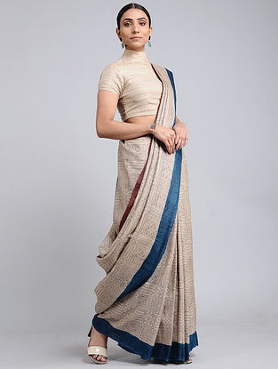 Off White-Blue Handwoven Block Printed Tussar Silk Saree
