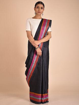 Black-Pink Handwoven Block Printed Tussar Silk Saree