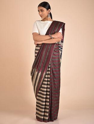 Purple-Grey Handwoven Block Printed Tussar Silk Saree