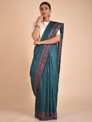 Blue-Purple Handwoven Block Printed Tussar Silk Saree