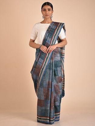 Blue-Brown Handwoven Block Printed Tussar Silk Saree