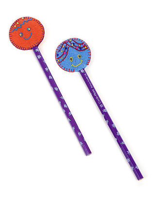 Purple-Orange Embroidered Pencil Toppers (Set of 2)