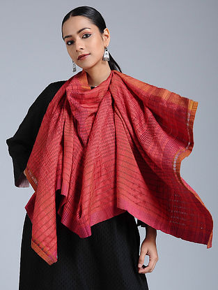 Pink-Orange Mulberry silk and Khadi Stole
