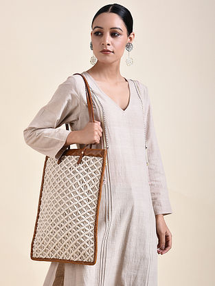 White Brown Handcrafted Macrame Leather Tote Bag