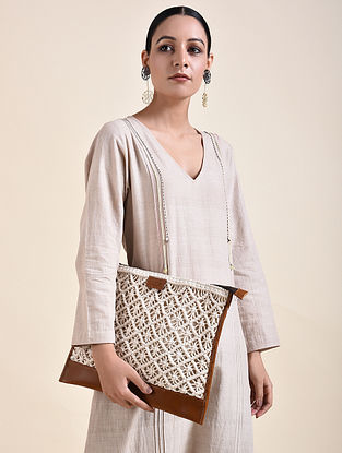 White Brown Handcrafted Macrame Leather Laptop Sleeve