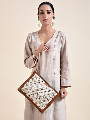 White Brown Handcrafted Macrame Leather Wristlet