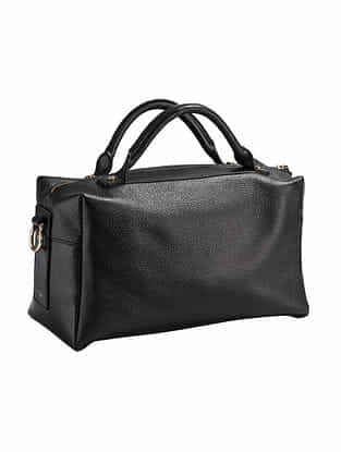 Black Handcrafted Genuine Leather Handbag