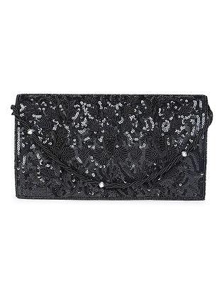 Black Sequined Zardozi-embroidered Raw Silk Clutch