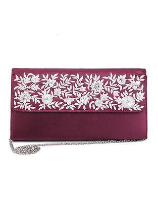 Red-White Parsi Hand Embroidered Satin Silk Clutch