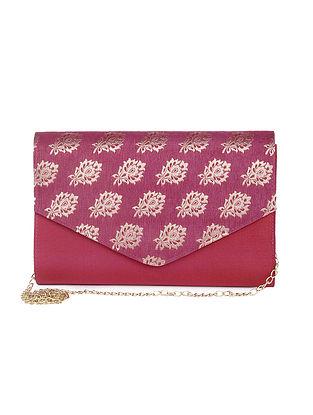 Pink Hand-Crafted Brocade Silk Clutch