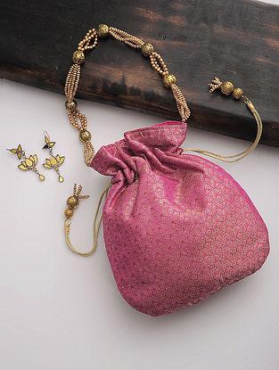 Pink-Golden Tanchoi Silk Drawstring Potli