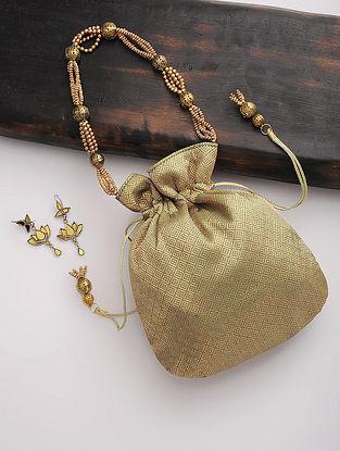 Green-Golden Kanjivaram Silk Drawstring Potli