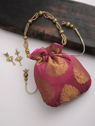 Maroon-Golden Brocade Silk Drawstring Potli