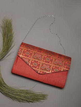 Brown Handcrafted Brocade Silk Clutch