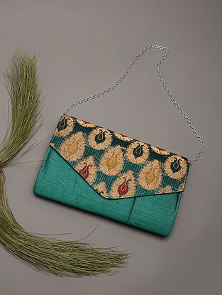 Green Handcrafted Brocade Silk Clutch