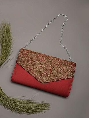 Maroon Handcrafted Brocade Silk Clutch