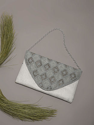Silver Sequins and Zardozi Embroidered Jute and Silk Clutch