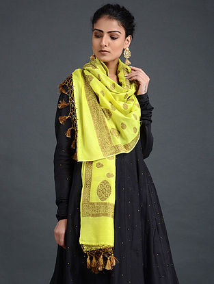 Yellow Benarasi Muga Silk Dupatta