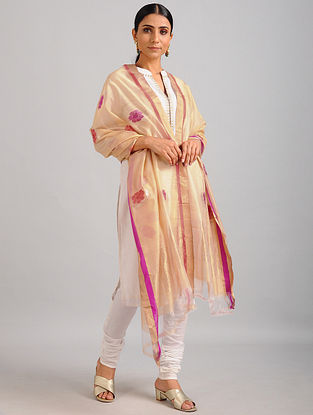 Beige-Pink Chanderi Dupatta with Zari