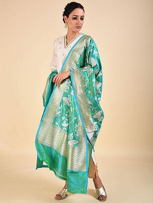 Blue-Green Handwoven Benarasi Katan Silk Dupatta