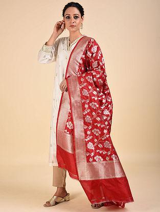 Red Handwoven Benarasi Katan Silk Dupatta
