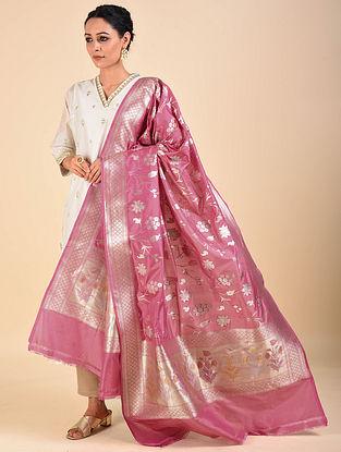 Pink Handwoven Benarasi Katan Silk Dupatta