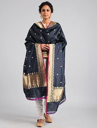 Black Handwoven Benarasi Katan Silk Dupatta