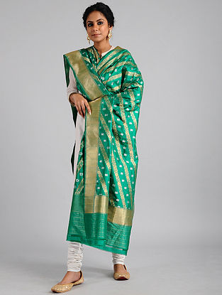 Green Handwoven Benarasi Katan Silk Dupatta