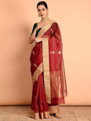 Red Chanderi Silk Saree