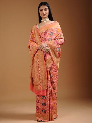 Pink-Blue Bandhani Georgette Saree
