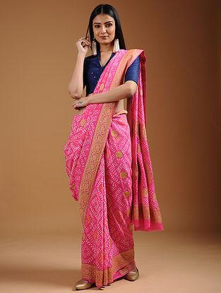 Pink-Ivory Bandhani Georgette Saree