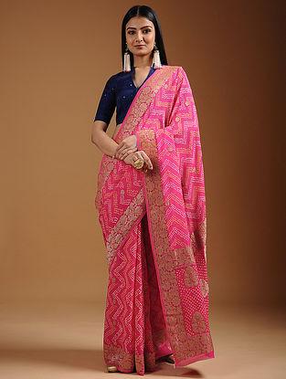 Pink-Yellow Bandhani Georgette Saree