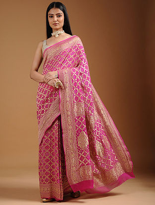 Pink Bandhani Cut-work Georgette Saree