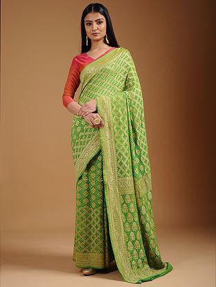 Green Bandhani Georgette Saree