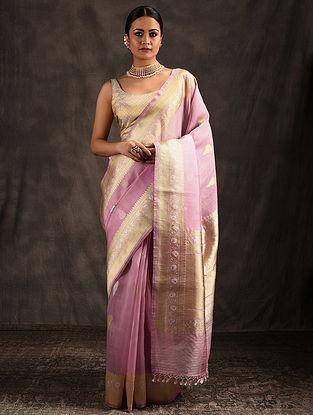 Pink Organza Silk Saree with Tassels