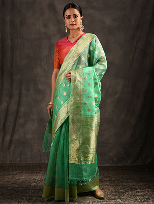 Green Organza Silk Saree with Tassels