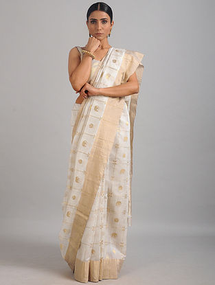White Chanderi Saree with Zari