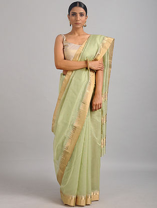 Green Chanderi Saree with Zari