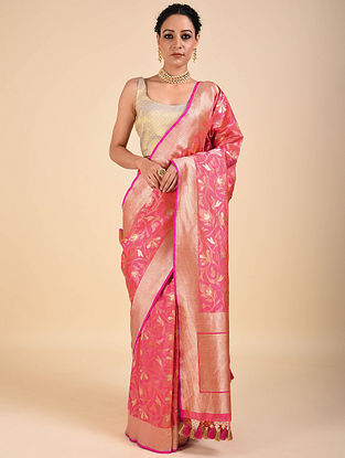 Pink Handwoven Benarasi Katan Silk Saree