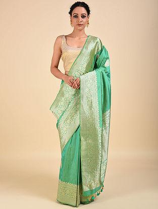 Green Handwoven Benarasi Katan Silk Saree