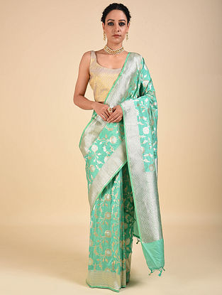 Green Handwoven Benarasi Katan Silk Saree