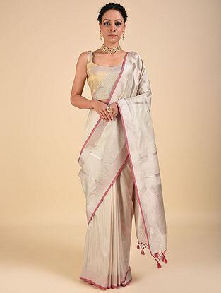 Silver-Pink Handwoven Benarasi Katan Silk Saree