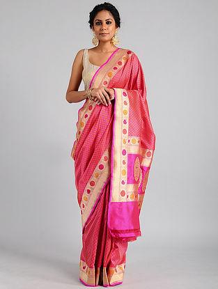 Red-Pink Handwoven Benarasi Katan Silk Saree