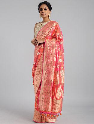 Orange Handwoven Benarasi Katan Silk Saree